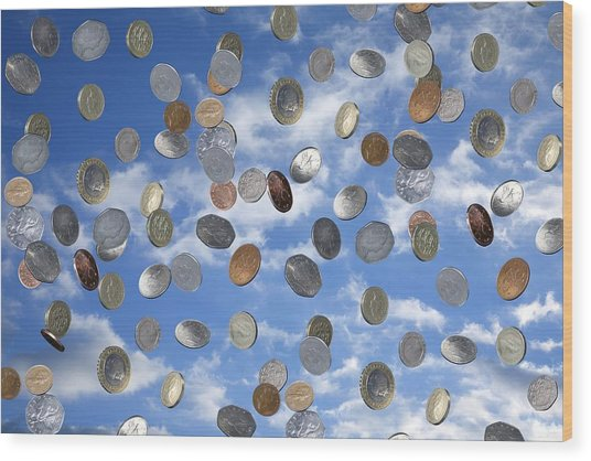 Money Shower Wood Print by Victor De Schwanberg