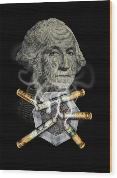 Money Up In Smoke Wood Print