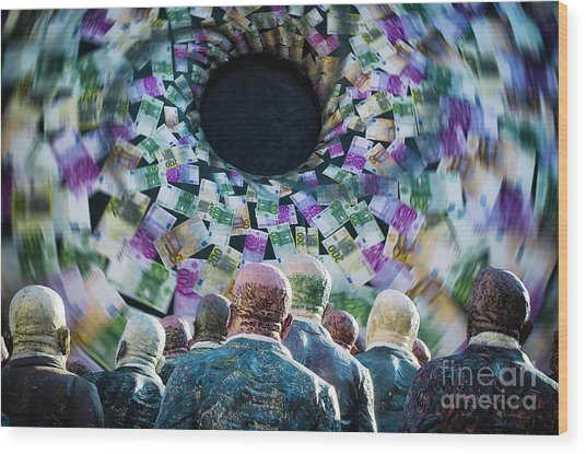 Money Vortex Wood Print by Alessandro Giorgi Art Photography