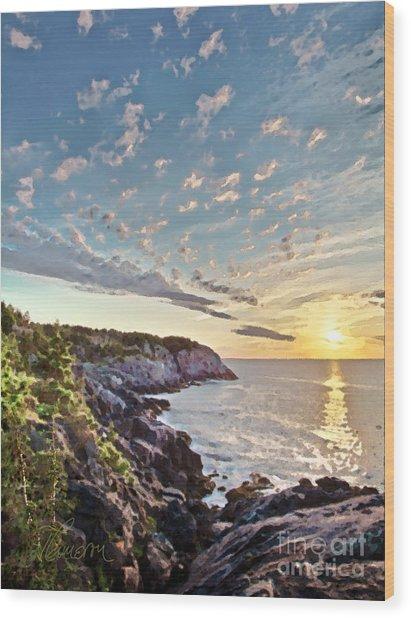 Monhegan East Shore Wood Print