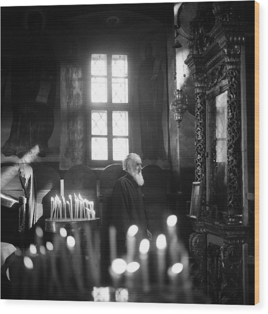 Monk And Candles Wood Print