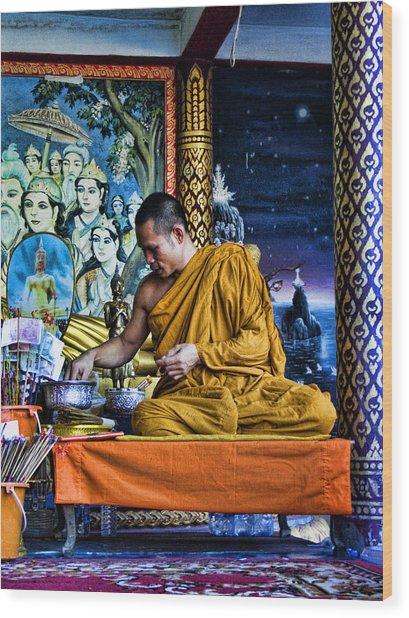 Monk At Big Buddha  Wood Print