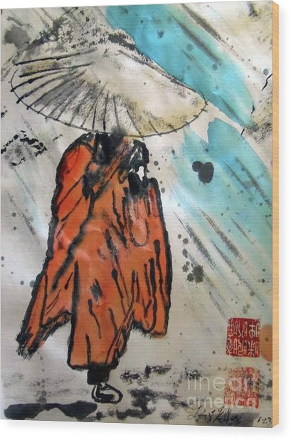 Monk In Rain, Chinese Watercolor Wood Print