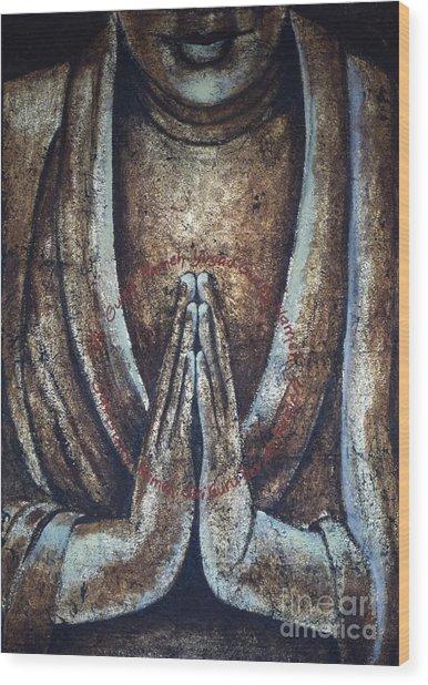 Monk Praying Wood Print by Paulina Garoa