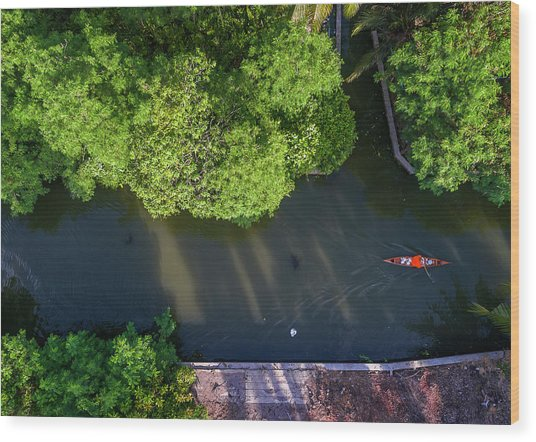 Wood Print featuring the photograph Monk Rowing Boat Along Floating Market Aerial View by Pradeep Raja PRINTS