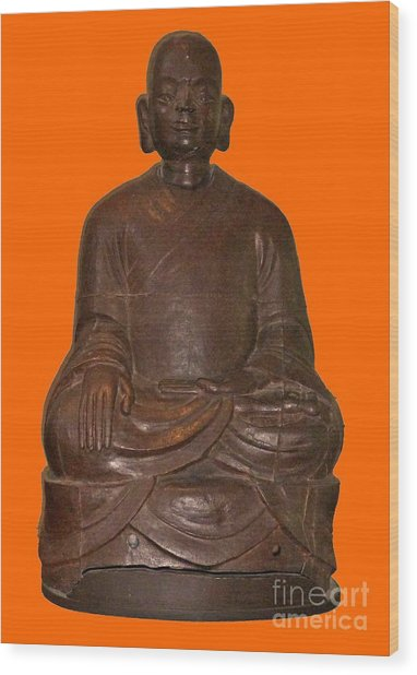 Monk Seated Wood Print