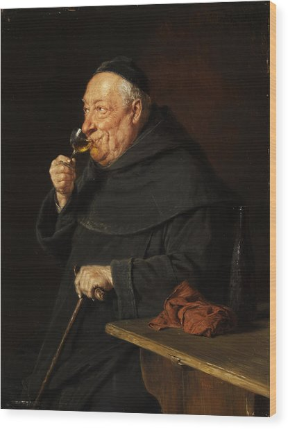 Monk With A Wine Wood Print