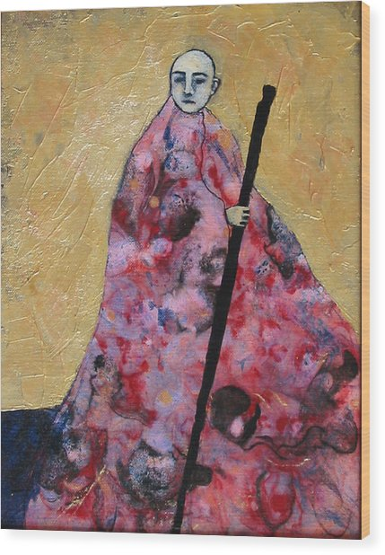Monk With Walking Stick Wood Print by Pauline Lim