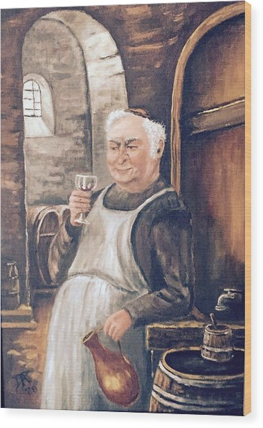 Monk With Wine Wood Print