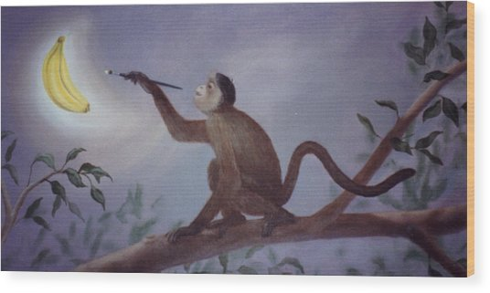 Monkey In The Moonlight Wood Print