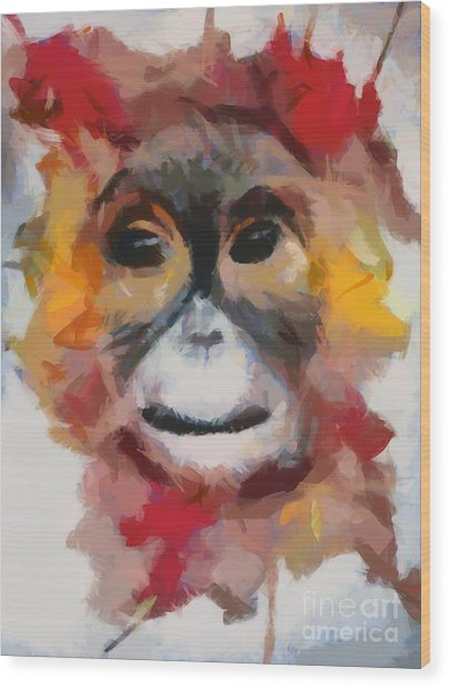 Monkey Splat Wood Print