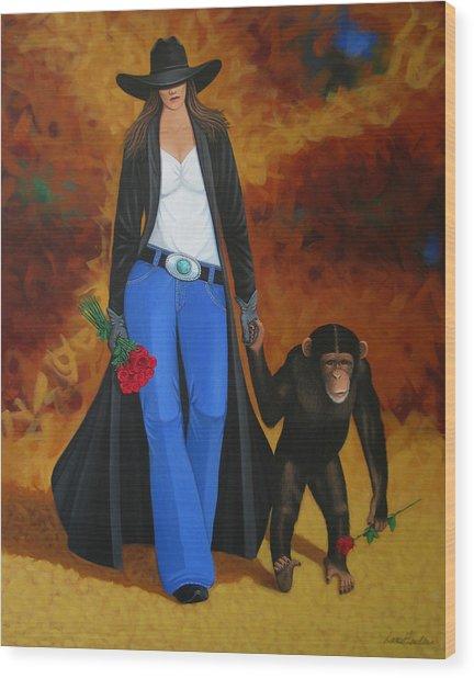 Monkeys Best Friend Wood Print