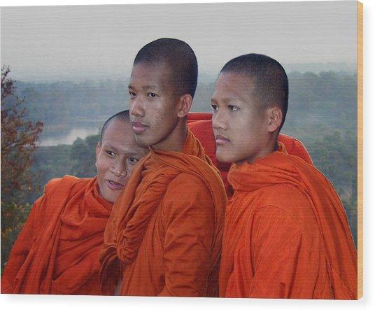 Monks At Angkor Wat Wood Print
