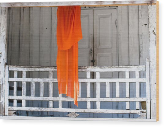 Monk's Robe Hanging Out To Dry, Luang Prabang, Laos Wood Print