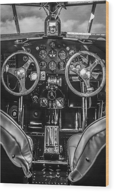 Monochrome Cockpit Wood Print