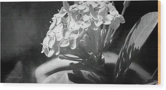 Monochrome Flora Wood Print