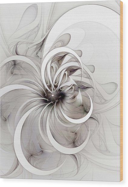 Monochrome Flower Wood Print