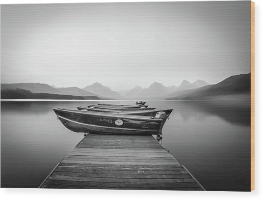 Monochrome // Lake Mcdonald, Glacier National Park Wood Print