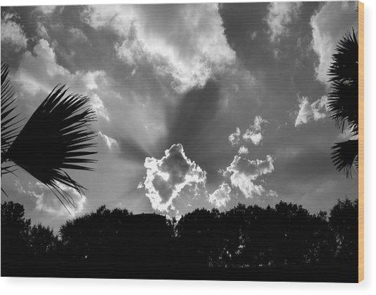 Monochrome Sunburst Wood Print
