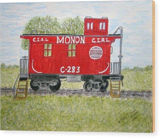 Monon Wood Caboose Train C 283 1950s Wood Print
