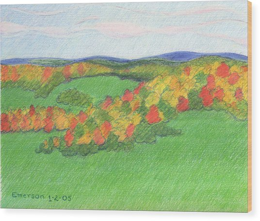 Monongalia County Autumn Wood Print by Harriet Emerson