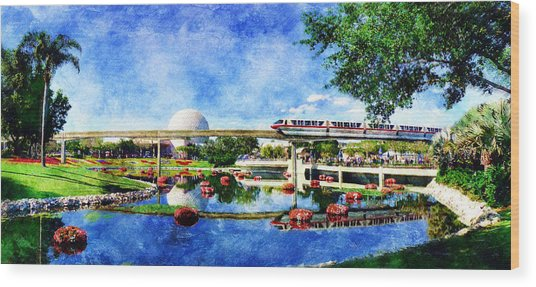 Monorail Red - Coming 'round The Bend Wood Print