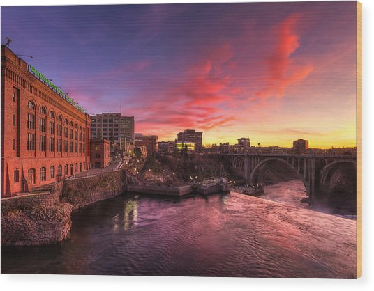 Monroe Bridge Sunset View Wood Print