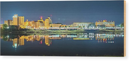 Monroe Louisiana City Skyline At Night Wood Print