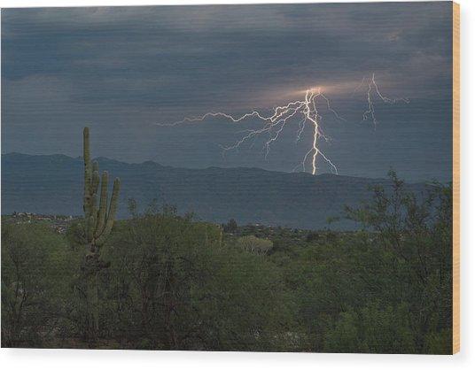 Wood Print featuring the photograph Monsoon Lightning by Dan McManus