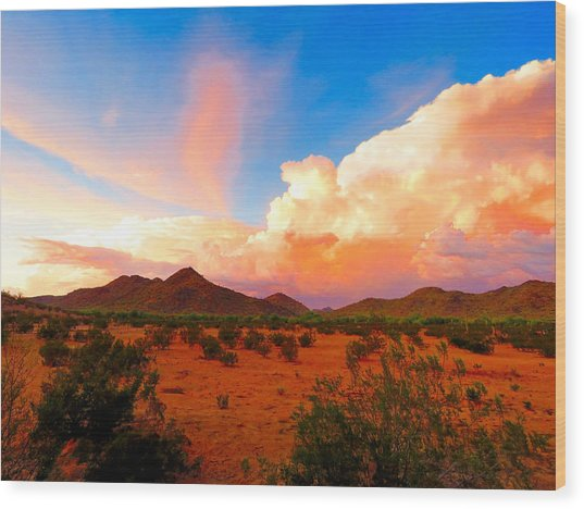 Monsoon Storm Sunset Wood Print