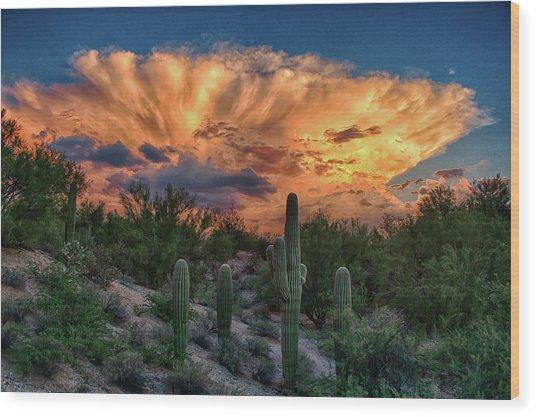Monsoon Sunset Wood Print