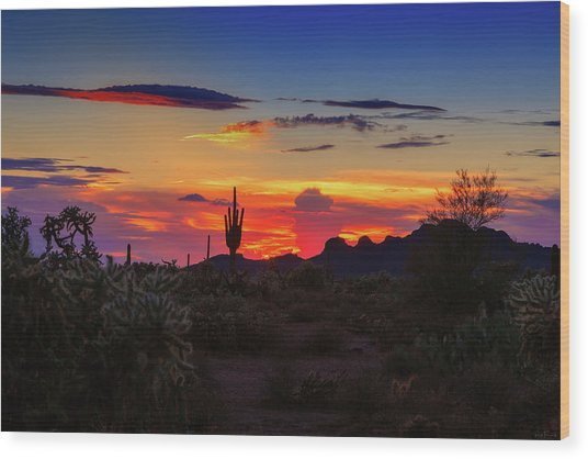 Monsoon Sunset Wood Print