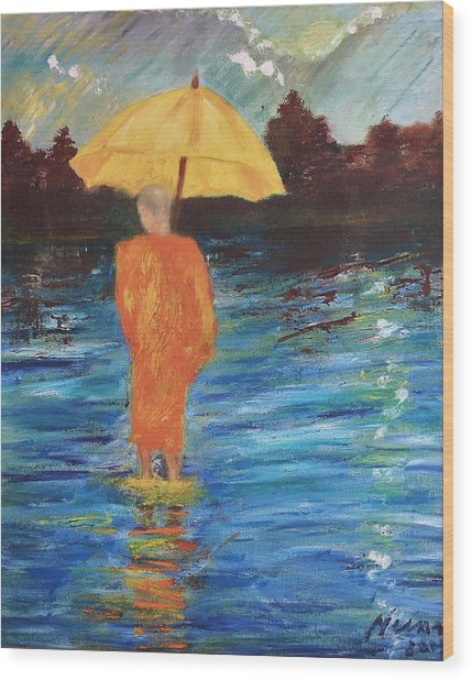 Monsoon Walk Wood Print by Neena Alapatt
