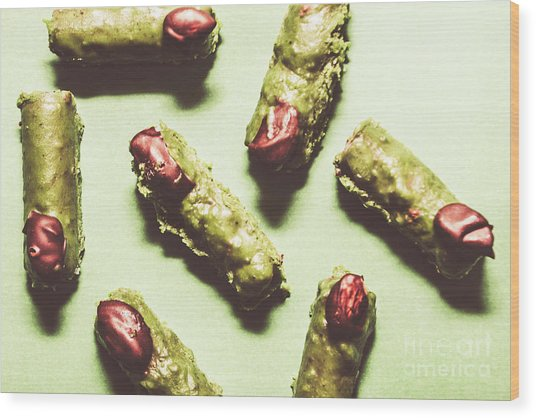 Monster Fingers Halloween Candy Wood Print