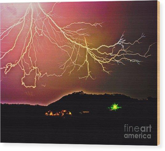 Monster Lightning By Michael Tidwell Wood Print