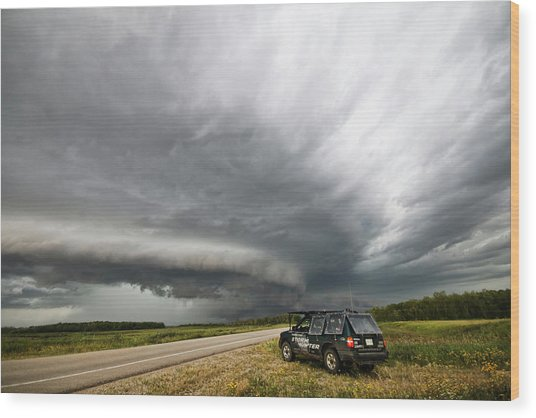 Monster Storm Near Yorkton Sk Wood Print