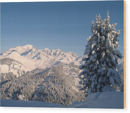 Mont Blanc From Les Saisies Wood Print