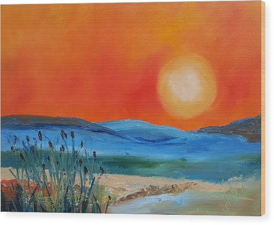 Montana Firery Sunset             49 Wood Print