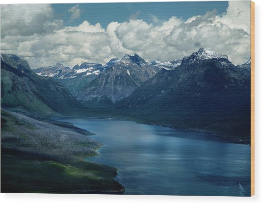 Montana Mountain Vista And Lake Wood Print