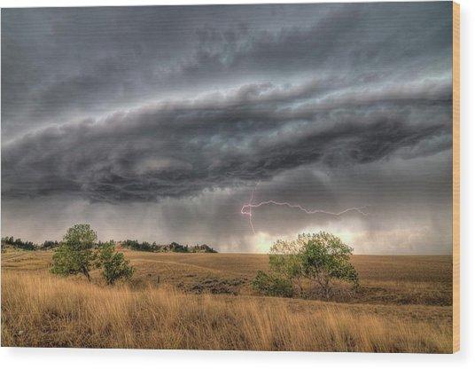 Montana Storm Wood Print
