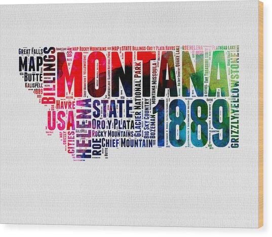 Montana Watercolor Word Cloud  Wood Print