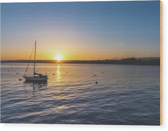 Monterey Bay Sailboat At Sunrise Wood Print