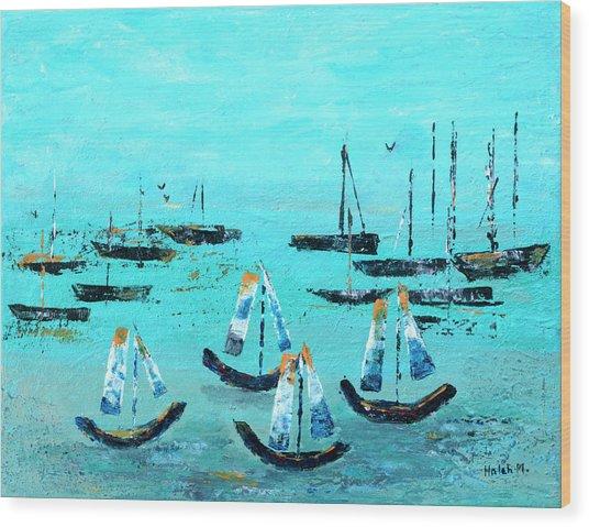Monterey Boats Wood Print
