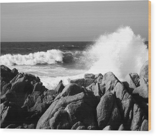 Monterey Waves Wood Print by Halle Treanor