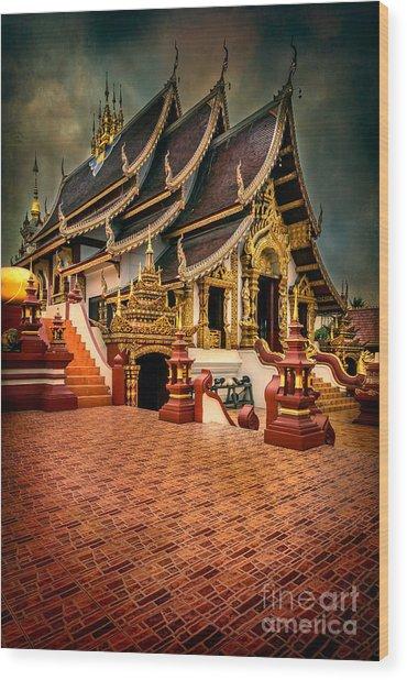 Monthian Temple Chiang Mai  Wood Print