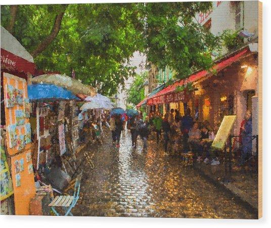 Montmartre Art Market, Paris Wood Print
