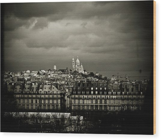 Montmartre Black And White Wood Print