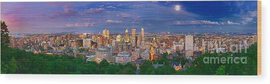 Montreal At Night Wood Print