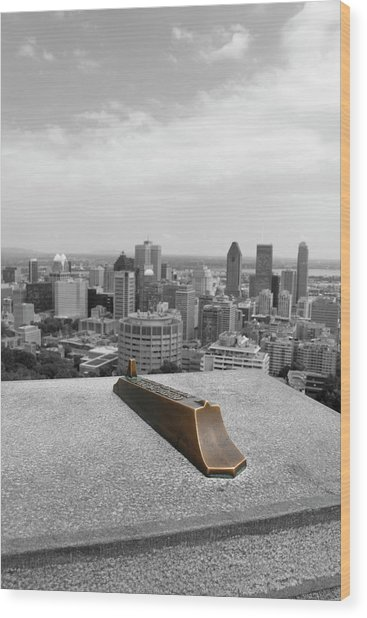 Montreal Cityscape Bw With Color Wood Print