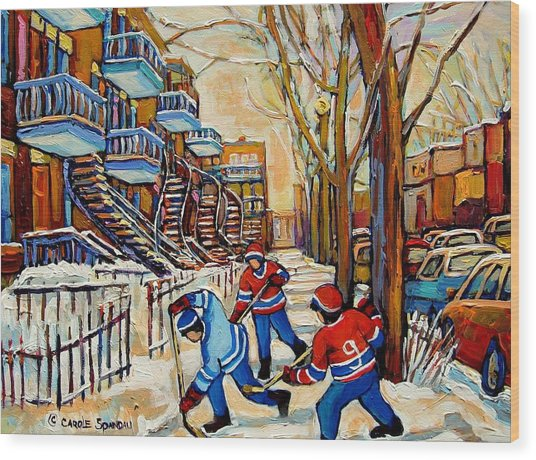 Montreal Hockey Game With 3 Boys Wood Print